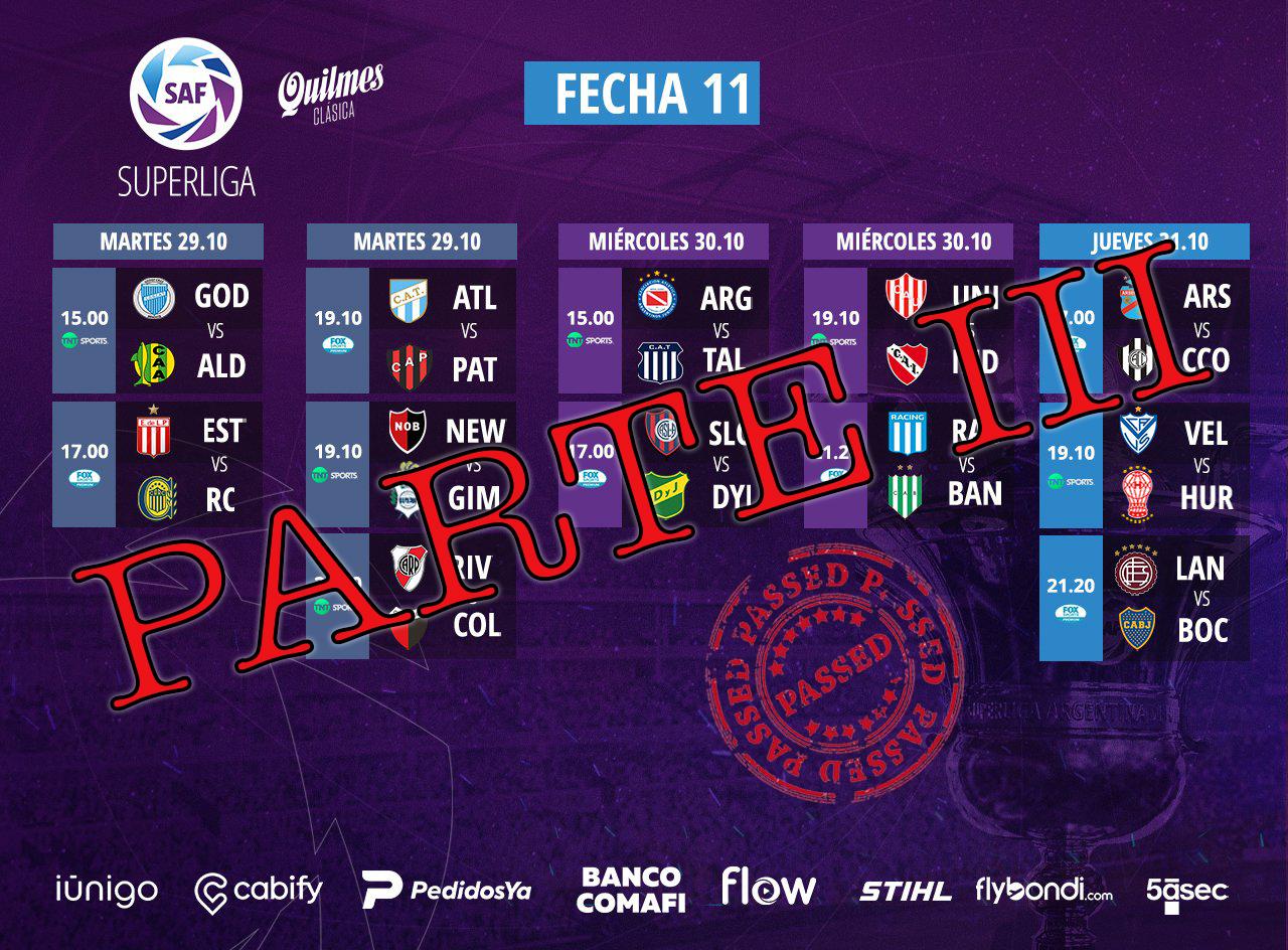 Guida all' 11^ giornata di Superliga argentina. Parte III